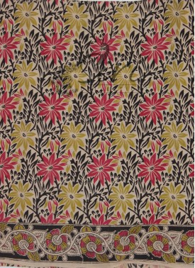 Kalamkari Screen Print Cotton Multi Colour Flowers Fabric By Meter
