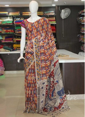 Kalamkari Silk Saree in Allover Design