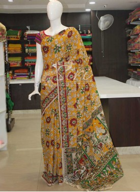 Kalamkari Silk Saree in Yellow and Offwhite