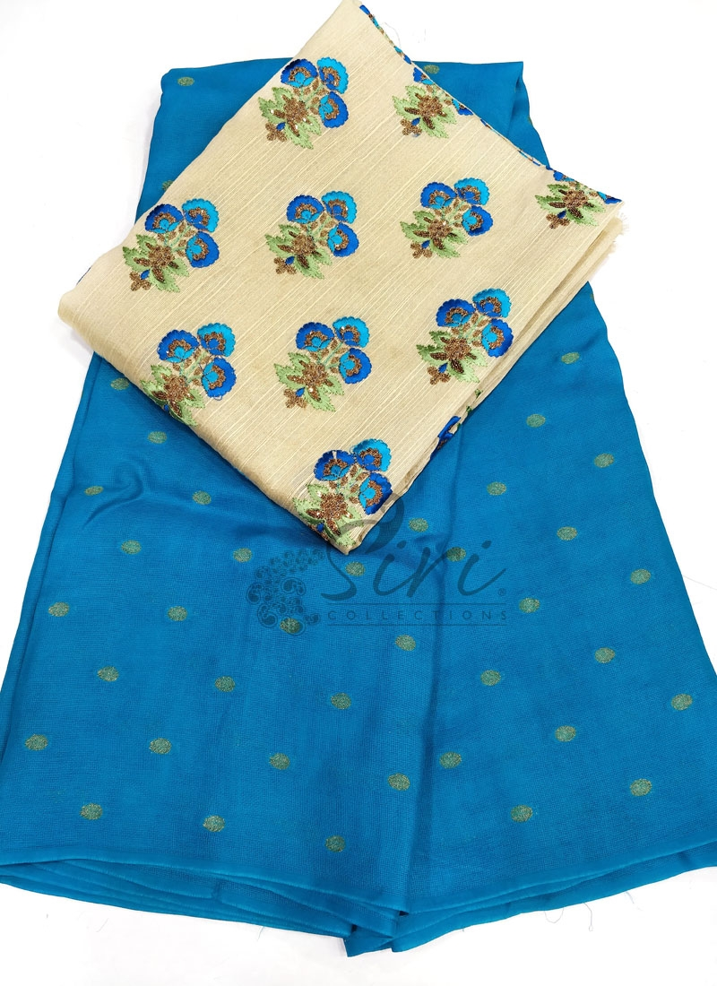 Krishna Blue Jute Silk Saree in Self  Zari Polka Dots
