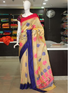 Kuppadam Cotton Silk Saree in Cream Butter Colour