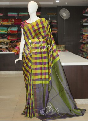 Lemon Green Purple Checks Uppada Pattu Silk Saree