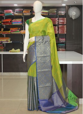 Lemon Green Yellow Designer Banarasi Kora Saree in Tanchoi Weave