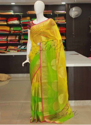 Lemon Green Yellow Shaded Pure Organza Saree