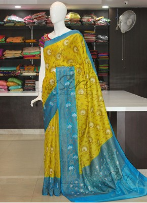 Lemon Yellow Blue Banarasi Tissue Dupion Silk Saree