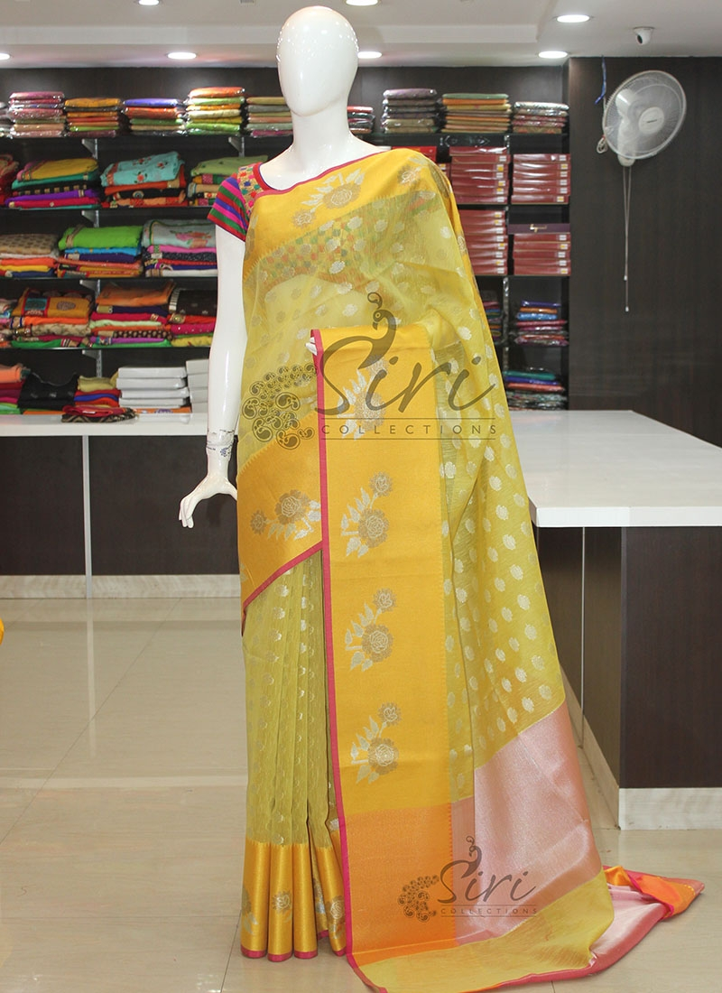 Lemon Yellow Designer Banarasi Linen Saree in Silver Antique Zari
