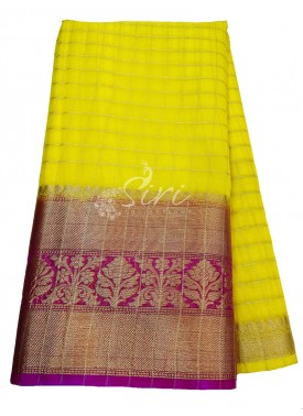 Lemon Yellow Organza Checks Fabric with Kanchi Bor