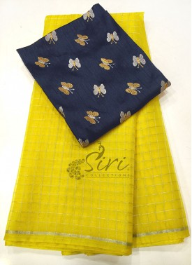 Lemon Yellow Organza Saree in Silver Checks with Designer Blouse Fabric
