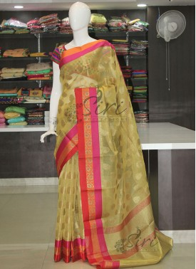 Lemon Yellow Tissue Saree in Self Zari Checks and Multi Borders