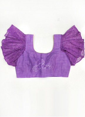 Lilac Khadhi and Lace Net Ruffle Sleeves Blouse