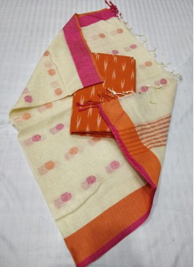Linen Dupatta with Ikat Top Fabric and No Bottom