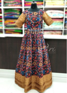 Lovely Banarasi Fancy Dupion Silk Long Frock in Digital Print