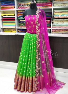 Lovely Banarasi Organza Lehenga with Raw Silk Blouse Fabric and Cut Work Dupatta