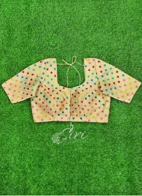 Lovely Beige Gold Blouse in Multi Colour Embroidery Work