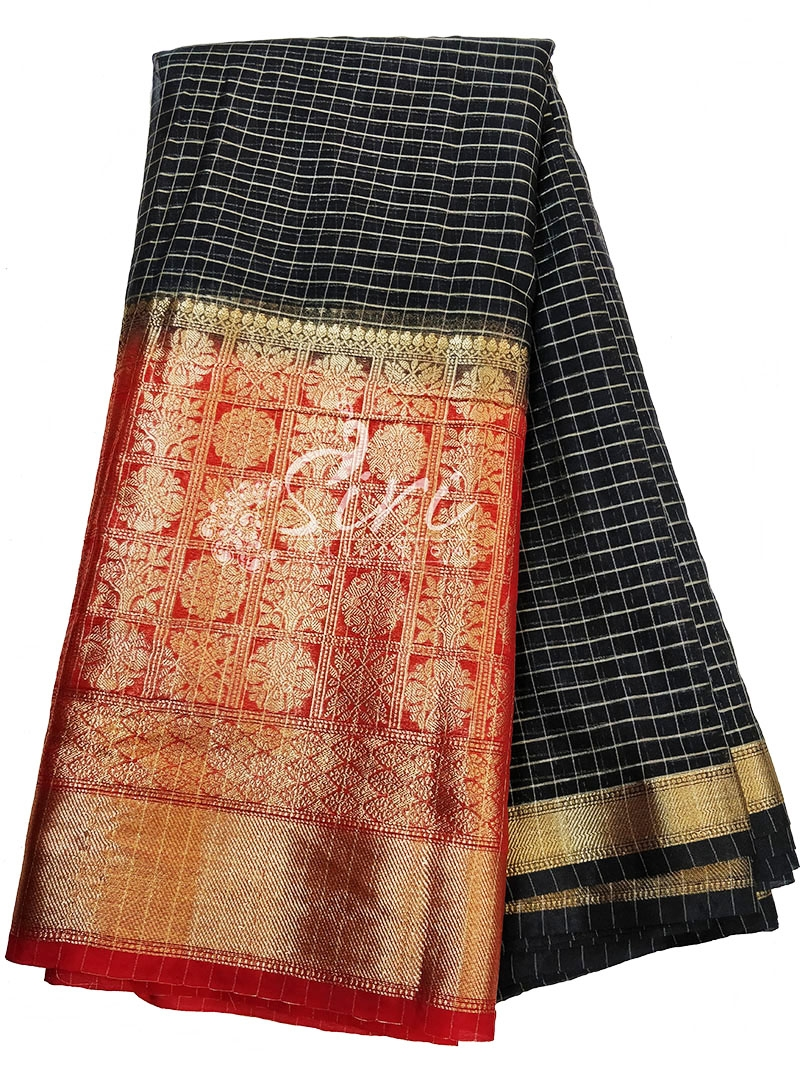 Lovely Black Organza Checks Fabric with Contrast Red Kanchi Border per meter