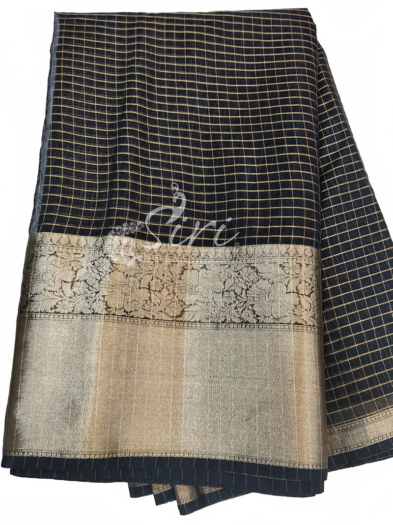 Lovely Black Organza Checks Fabric with Kanchi Border per meter