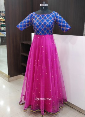 Lovely Blue Pink Long Frock