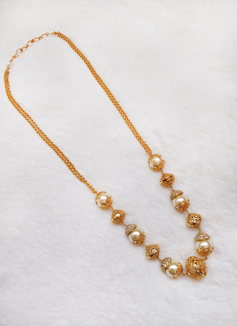 Lovely Chain Necklace in Gold Plated Balls and South Sea Pearls