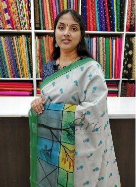 Lovely Chanderi Saree in Print and Embroidery Work