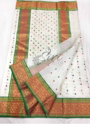 Lovely Pure Chanderi Silk Saree in Multi Butis