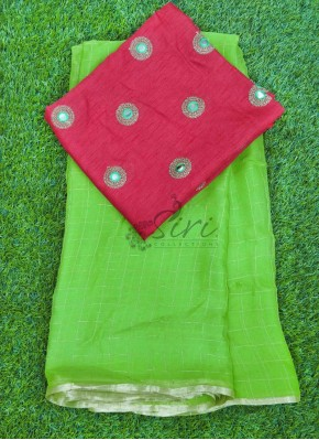 Lovely Chiffon Saree in Zari Checks With Designer Blouse Fabric