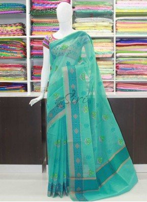 Lovely Cyan Blue Saree in Self Borders and Embroidery Work