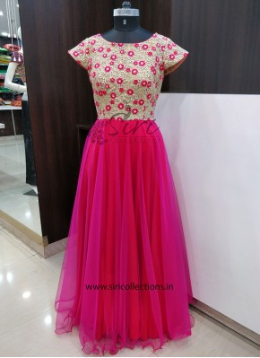 Lovely Designer Long Frock in Pink Red
