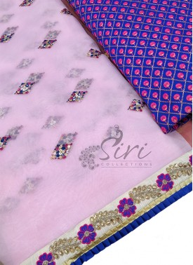 Lovely Designer Pink Organza Saree