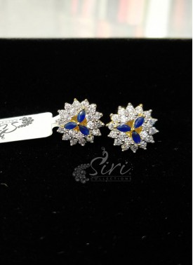 Lovely Diamond Finish Fine CZ Earrings Studs