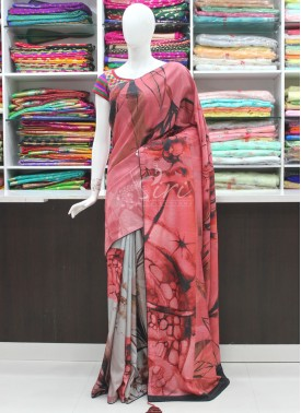 Lovely Digital Print Designer Fancy Saree In Mukesh Work