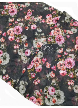 Lovely Digital Print Linen Cotton Blend Fabric Per Mete