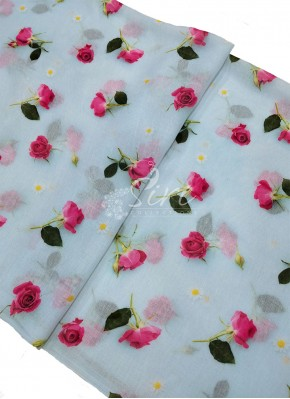 Lovely Digital Print Linen Cotton Blend Fabric Per Meter