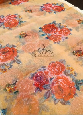 Lovely Digital Print Organza Fabric in Mukesh Work Per Meter