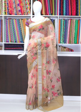 Lovely Digital Print Organza Saree