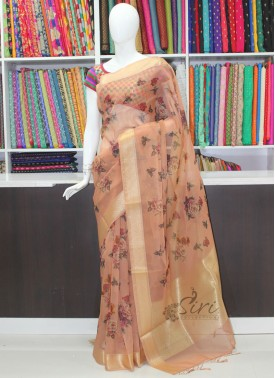 Lovely Digital Print Organza Saree in Rich Pallu