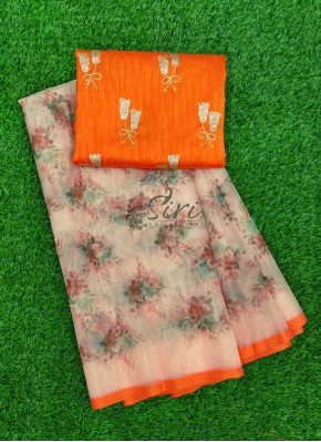 Lovely Digital Print Organza Saree with Designer Blouse Fabric