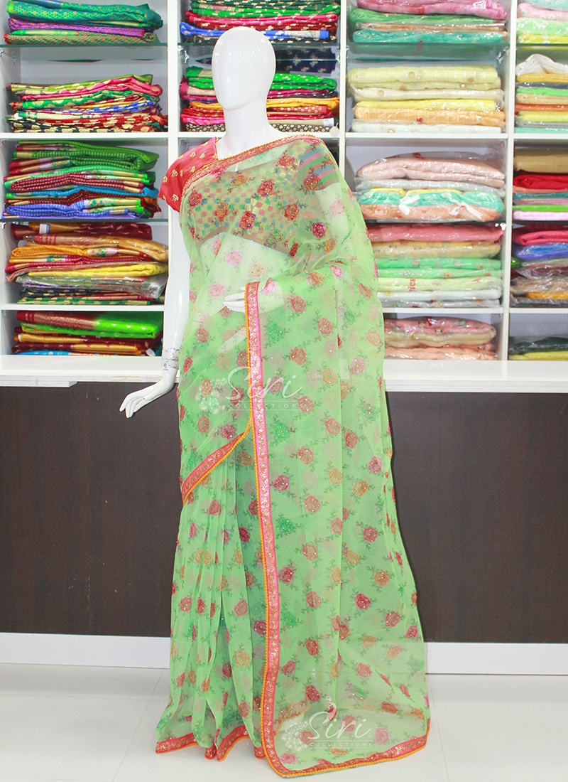 Lovely Digital Print Party Wear Organza Saree in Stone Work