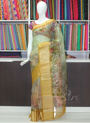 Lovely Digital Print Pure Organza Saree