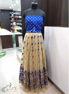 Lovely Embroidery Work Net and Raw Silk Lehenga Crop Top Fabric Set