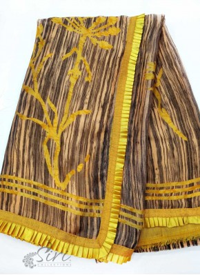 Lovely Fancy Crepe Saree in Frill Trim
