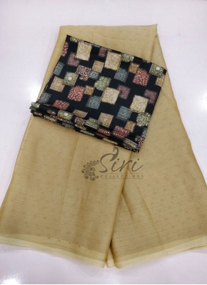 Lovely Fancy Georgette in Self Butis with Printed Blouse
