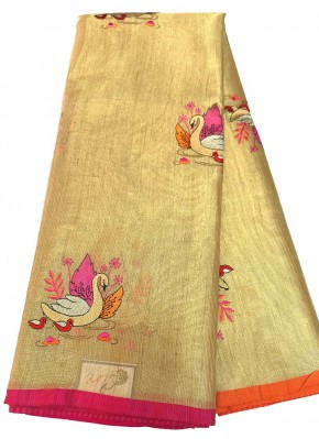 Lovely Fancy Gold Tissue Saree With Beautiful Swan Embroidery Work