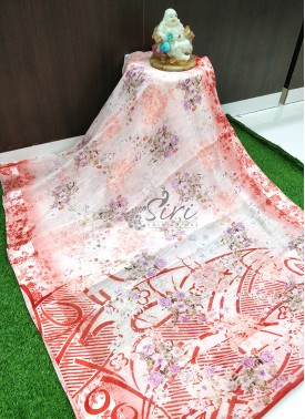 Lovely Fancy Printed Soft Linen Saree in Satin Borders
