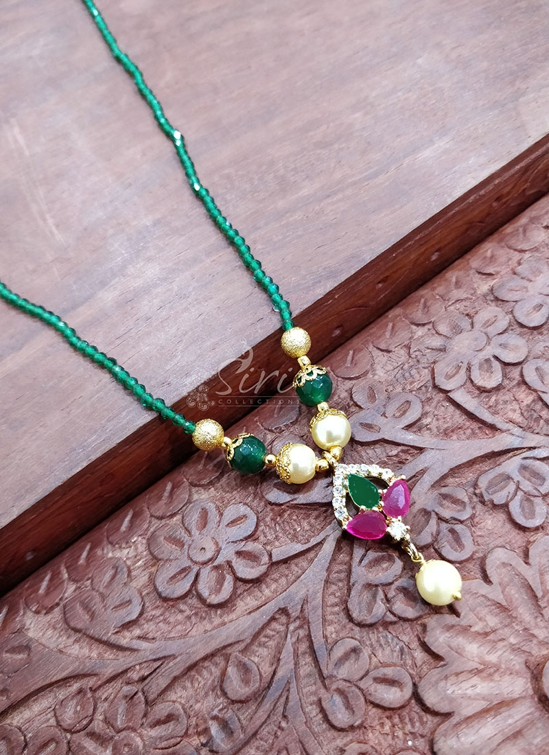 Lovely Green Beads Chain in Multi Stone Pendant