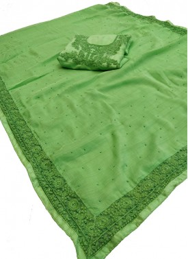 Lovely Green Fancy Chiffon Saree in Designer Borders