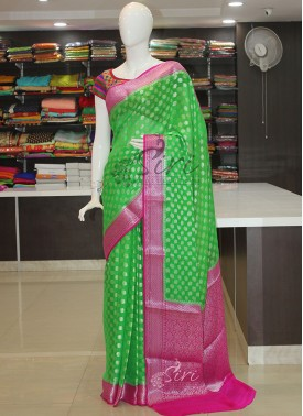 Lovely Green Pink Pure Banarasi Georgette Saree