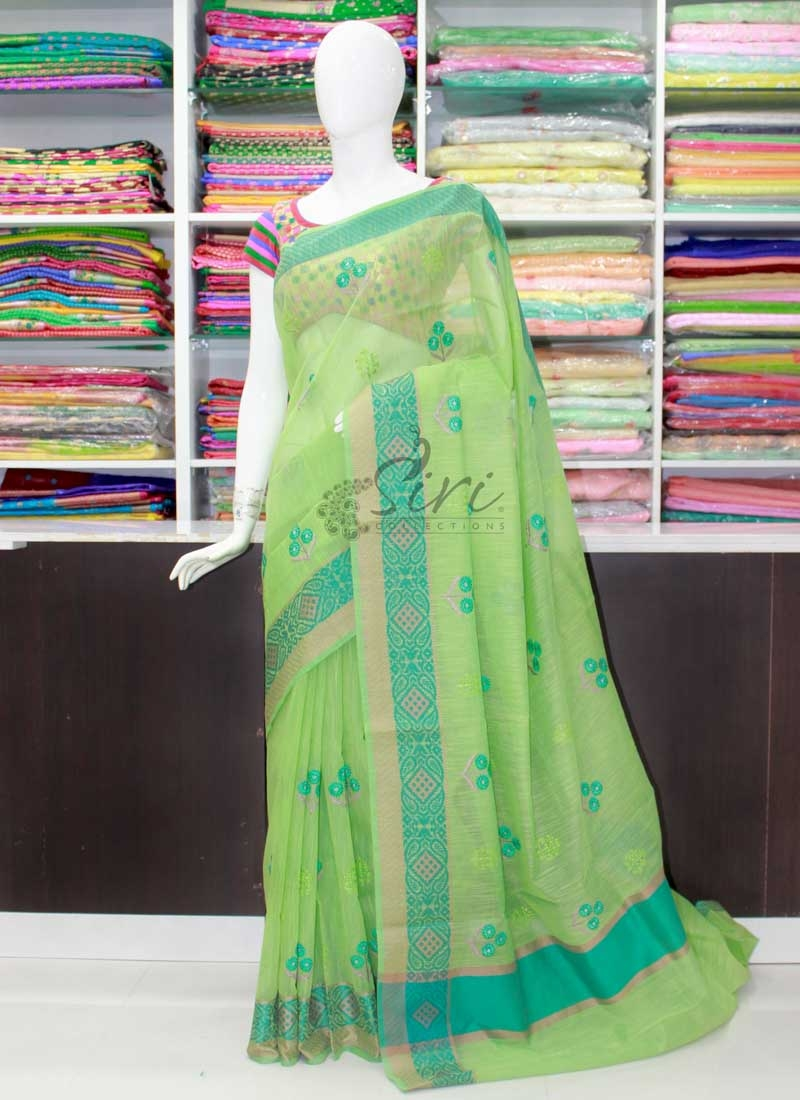 Lovely Green Saree in Self Borders and Embroidery Work