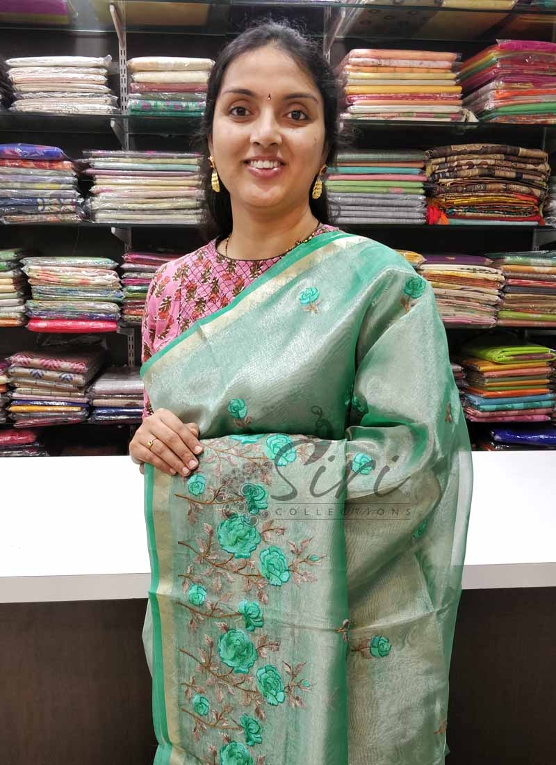 Lovely Green Tissue Organza Saree in Embroidery Work