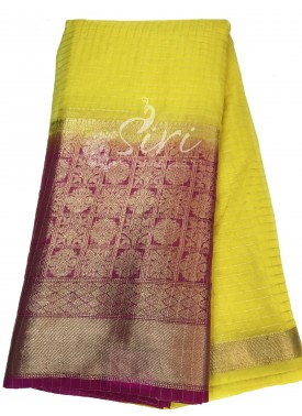 Lovely Lemon Yellow Organza Checks Fabric with Magenta Contrast Kanchi Border per meter
