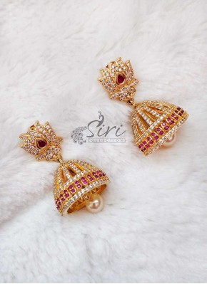 Lovely Lotus Design AD Stone Earrings Jhumkas